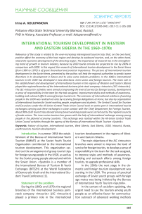International tourism development in Western and Eastern Siberia in the 1960-1970s