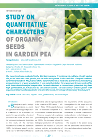 Study on quantitative characters of organic seeds in garden pea
