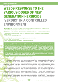 Weeds response to the various doses of new generation herbicide ''Verdict'' In a controlled environment