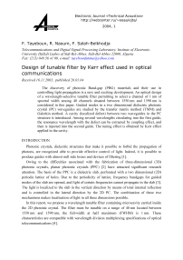 Design of tunable filter by Kerr effect used in optical communications