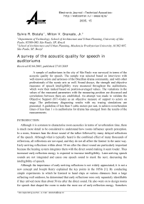 A survey of the acoustic quality for speech in auditoriums