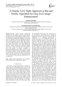 A Chaotic Lévy flight Approach in Bat and Firefly Algorithm for Gray level image Enhancement