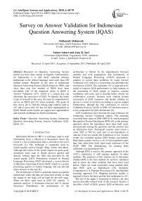 Survey on answer validation for Indonesian question answering system (IQAS)