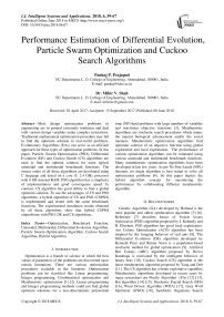 Performance estimation of differential evolution, particle swarm optimization and cuckoo search algorithms