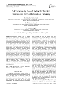A community based reliable trusted framework for collaborative filtering