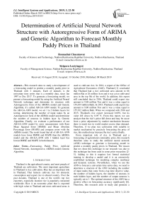 Determination of artificial neural network structure with autoregressive form of Arima and genetic algorithm to forecast monthly paddy prices in Thailand