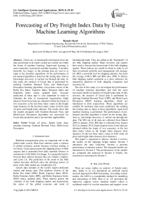 Forecasting of dry freight index data by using machine learning algorithms