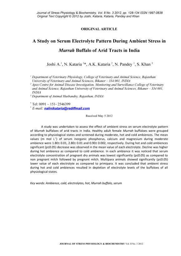 A study on serum electrolyte pattern during ambient stress in Murrah