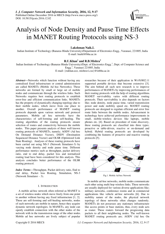 Analysis of Node Density and Pause Time Effects in MANET Routing