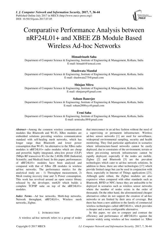 Comparative Performance Analysis between nRF24L01+ and XBEE ZB
