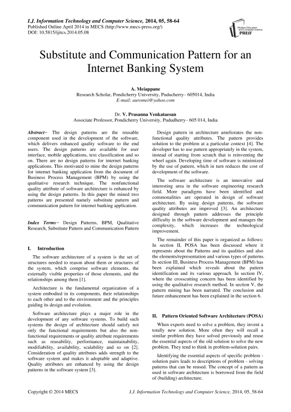Substitute And Communication Pattern For An Internet Banking System Ijitcs Readera Org