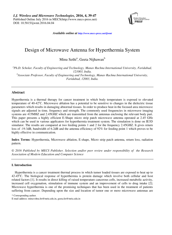 Design Of Microwave Antenna For Hyperthermia System Ijwmt Readera Ru