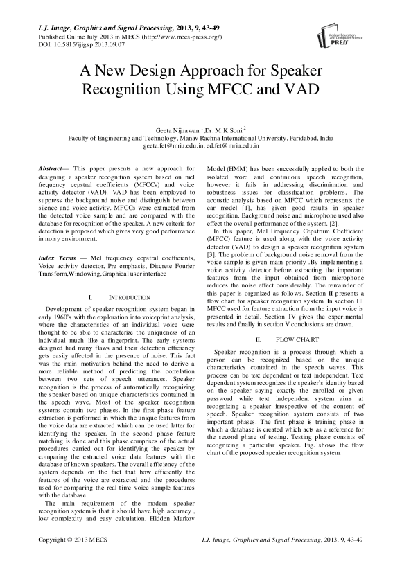 A New Design Approach for Speaker Recognition Using MFCC and VAD