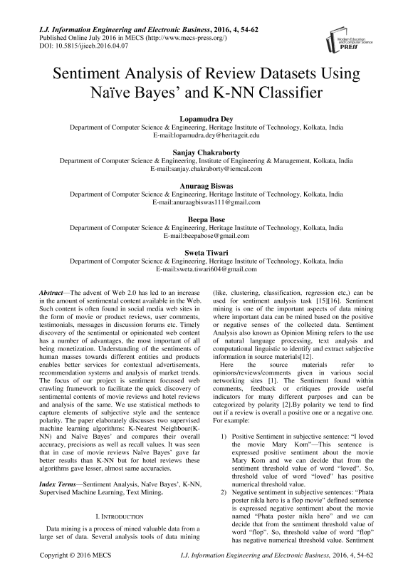Sentiment Analysis of Review Datasets Using Naïve Bayes' and K-NN