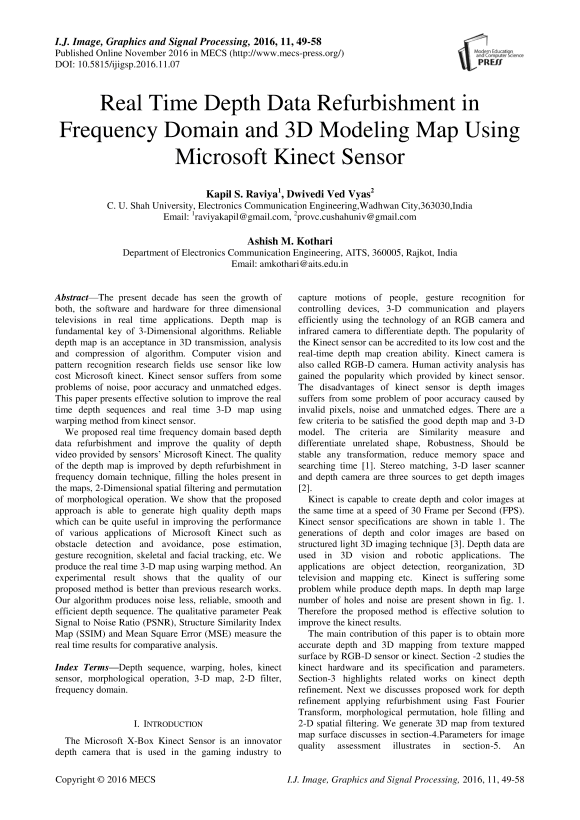 Real Time Depth Data Refurbishment in Frequency Domain and