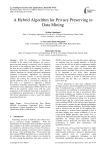 A Hybrid Algorithm for Privacy Preserving in Data Mining